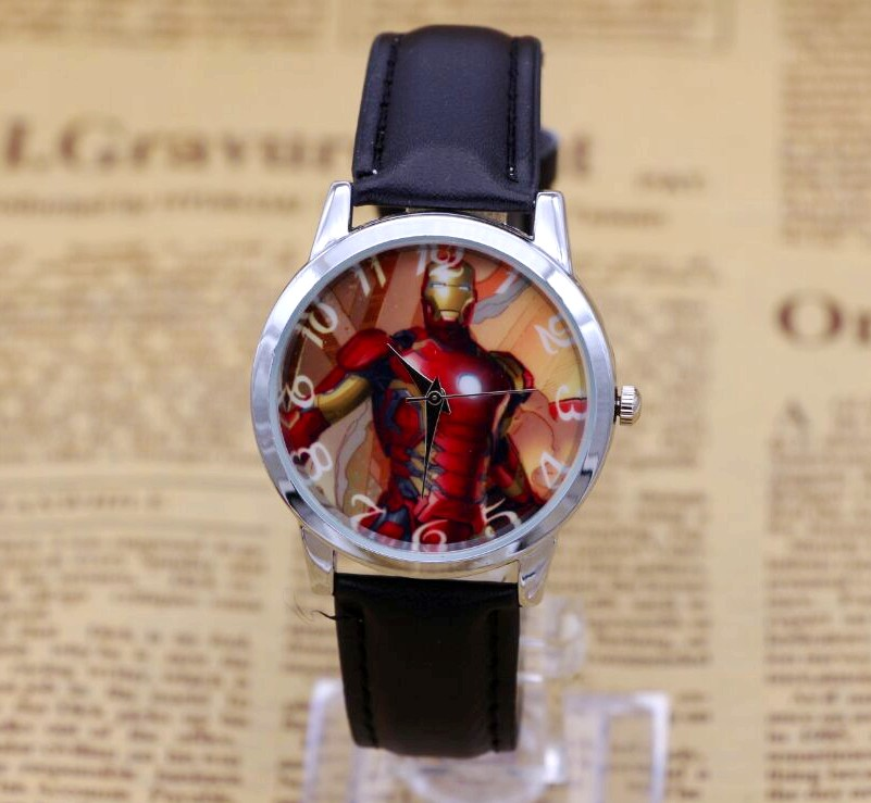 Men Women Children Pretty The Iron Man Cartoon Lovely Watch Best Fashion Casual Simple Quartz Square Leather Watches