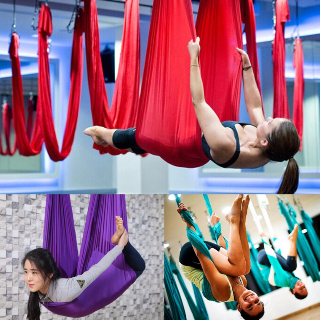 Realistic 1pcs 2.8m *1m Anti-gravity Elastic Yoga Aerial Inversion Swing Hammock Sling Strap Prop Body Building Gym Fitness 3 Colors Yoga Sports & Entertainment