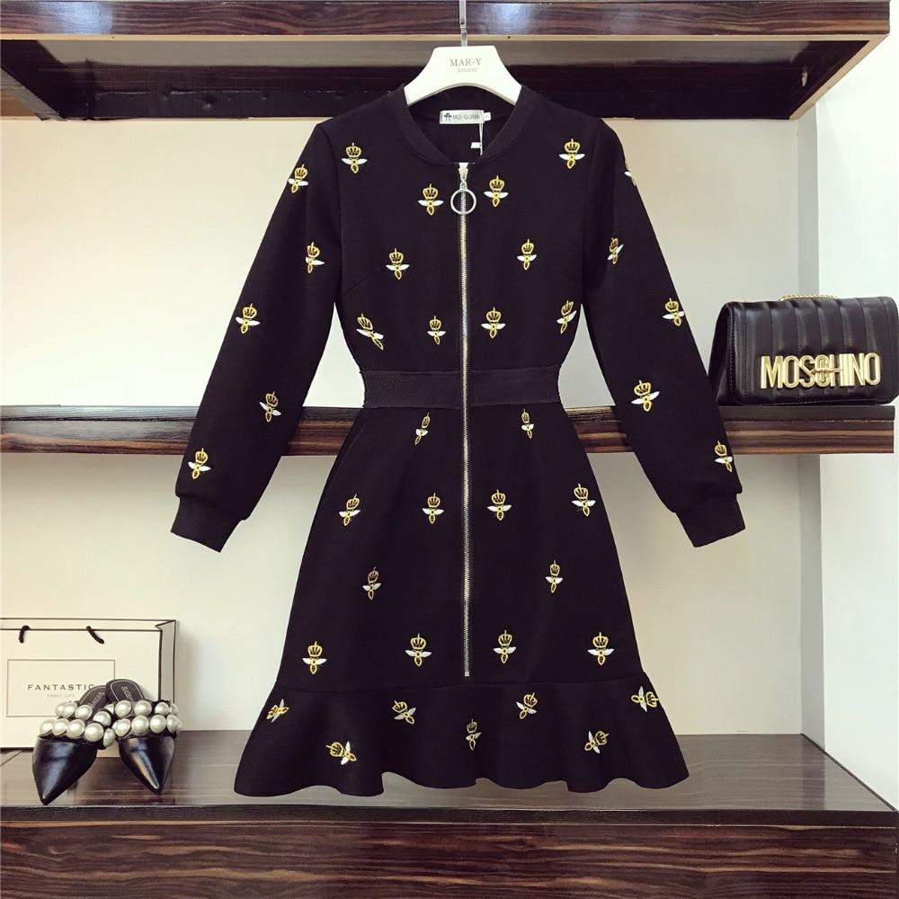Amolapha Women Chic V Neck Embroidery Bee Pattern Zipper Full Sleeve Dresses Vestidos