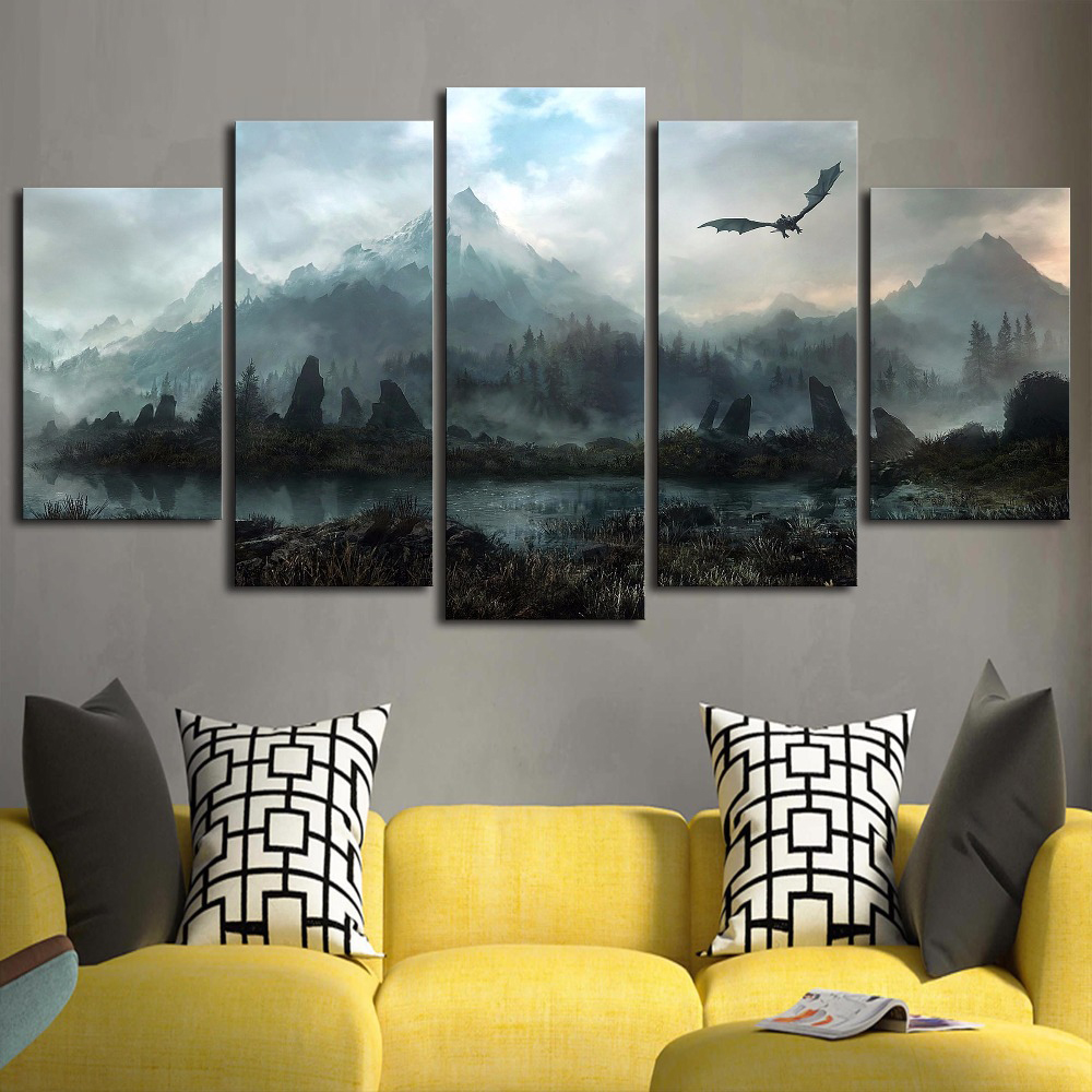5-Piece-HD-Wall-Art-Picture-Game-of-Thrones-Dragon-Skyrim-Oil-Painting-Mural-on-Canvas