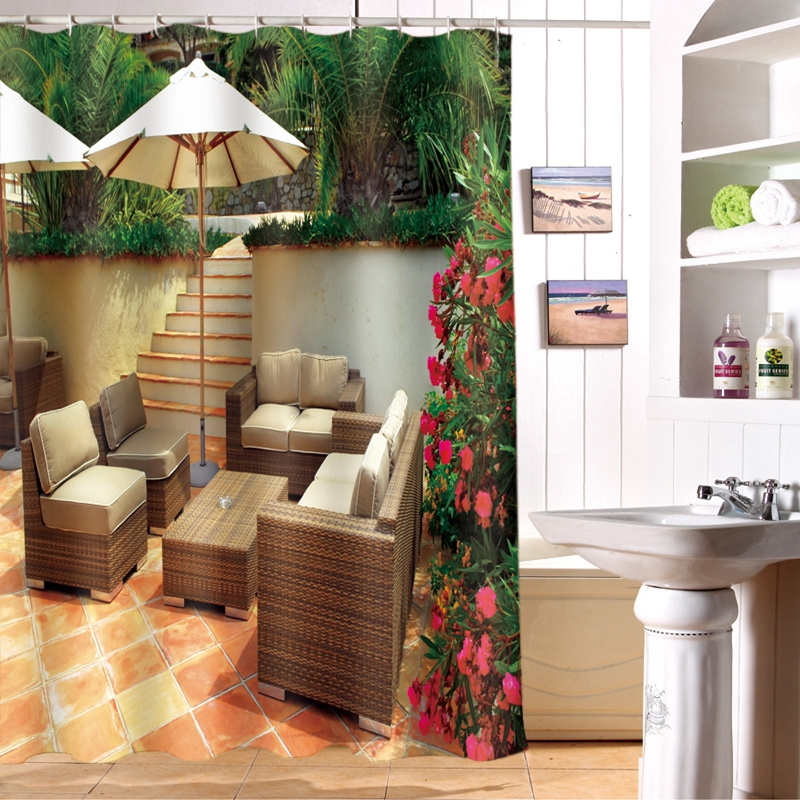 Home Design 3d Outdoor Garden On The App Store: 3D Shower Curtains Hooks Outdoor Cafe Scenery Pattern