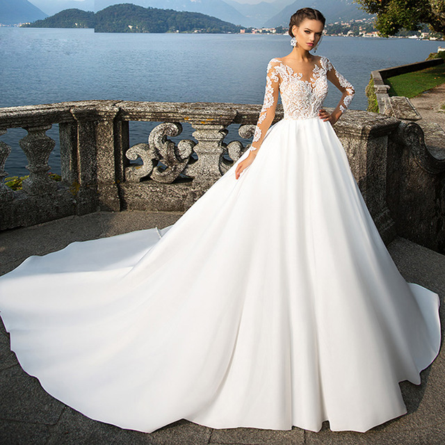 White Long Sleeve Lace Wedding Dress 2017 Cathedral Train
