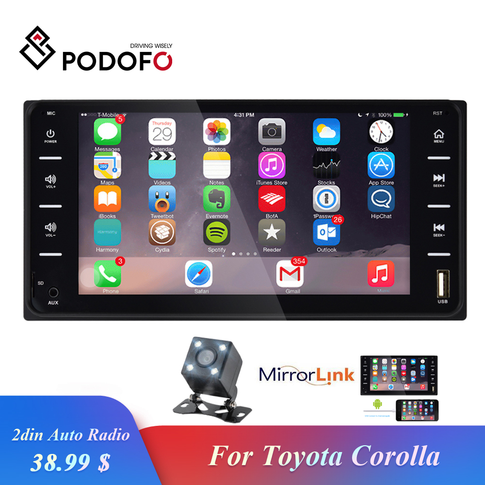 Autoradio Podofo 2din 7 ''Bluetooth Audio Radio stéréo multimédia MP5 lecteur miroir lien Android/IOS caméra pour Toyota Corolla