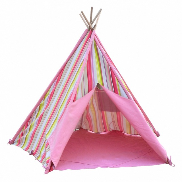 Pink Stripes Princess Teepee Tent Indoor Tent for Kids  sc 1 st  AliExpress.com & Pink Stripes Princess Teepee Tent Indoor Tent for Kids-in Toy ...