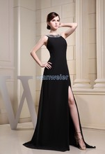 free shipping 2014 new arrival customize size/color evening gown bead long dress luxury real photo chiffon black