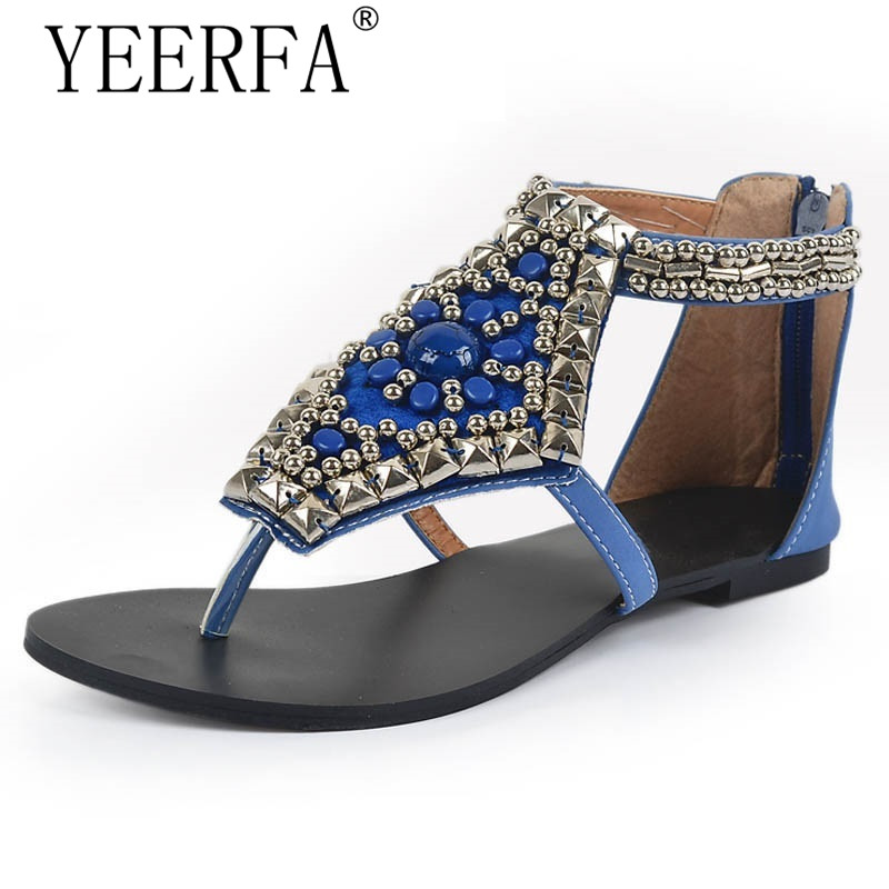 YEERFA Platform Gladiator Sandals Summer Bohemia Flip Flops 2017 Beaded Shoes Woman Vinatge Rhinestone Slip On Flats SIZE 35-40 wedges gladiator sandals 2017 new summer platform slippers casual bling glitters shoes woman slip on creepers
