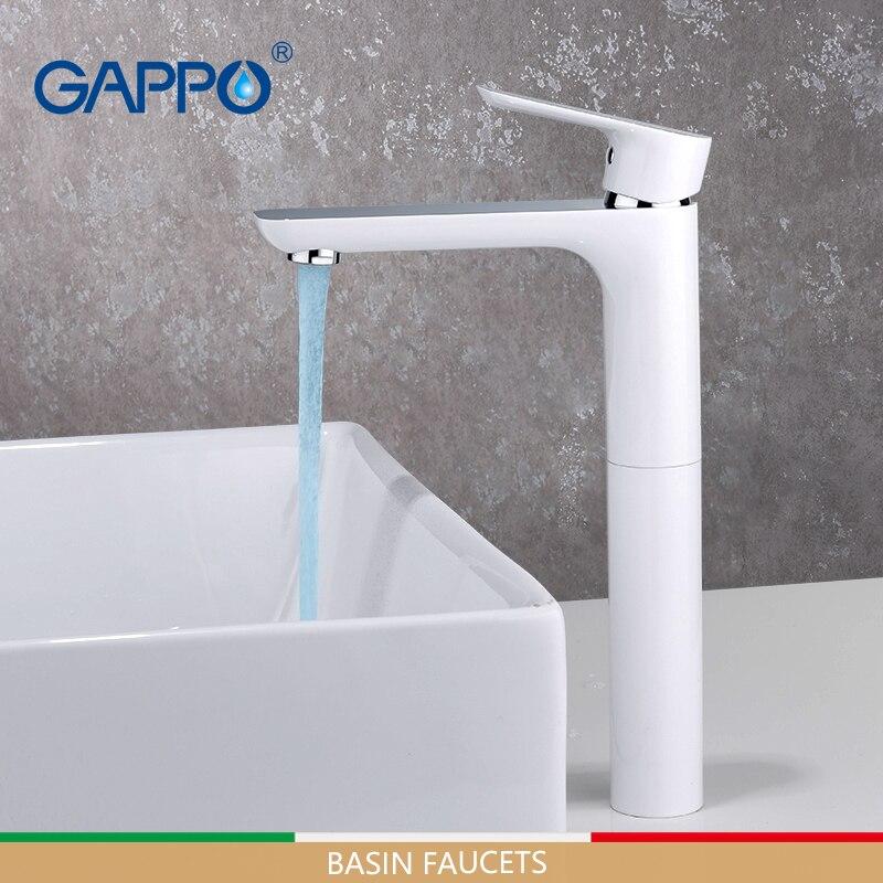 GAPPO смеситель для раковины s Tall смеситель для раковины для ванной комнаты Смеситель для водопада белые краны водопроводный кран смеситель д...