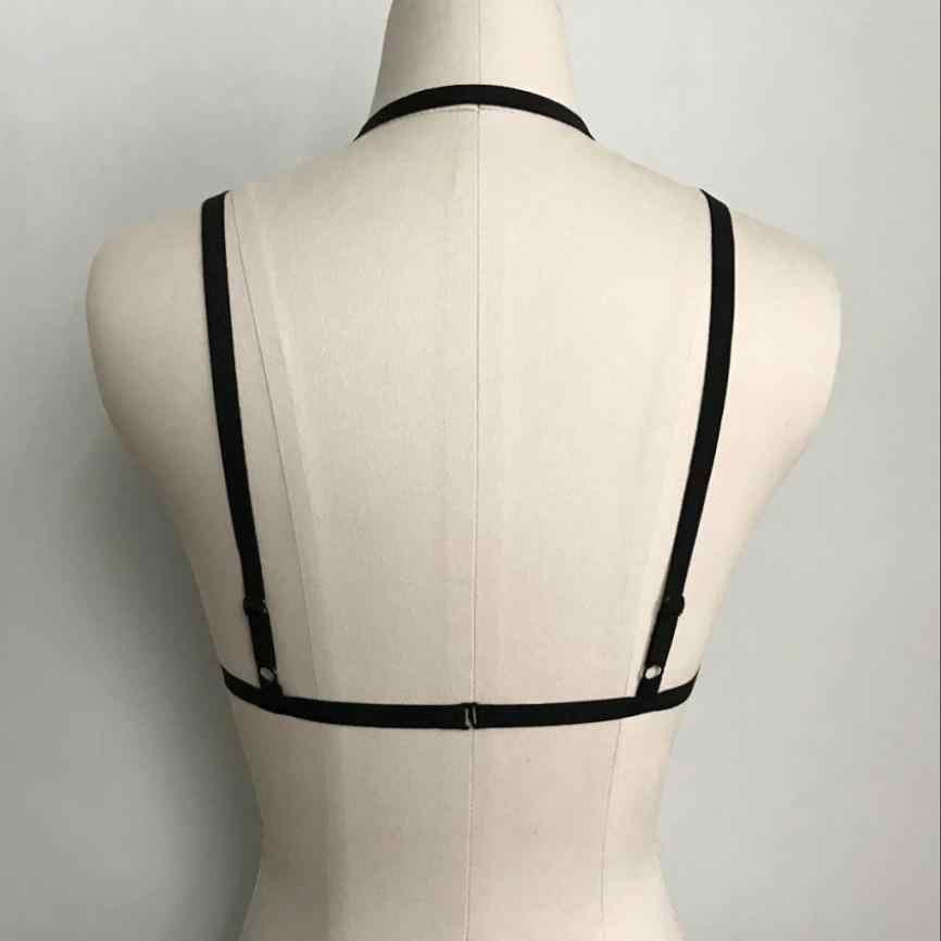 6c655ae33c7 ... Sexy Women s Elastic Cage Bra White Bandage Lingerie Corset Push Up Top  Deep V Neck Lace ...
