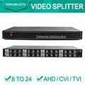 1080 P / 720 P Video Splitter / distribuidor 8 entrada 24 salidas, ayuda 1080 P / 720 P CVI / TVI / AHD cámara Bnc de entrada y salida, distancia máxima a 600 M