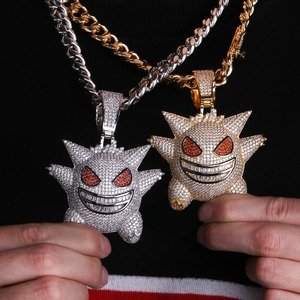 Image 4 - TOPGRILLZ Super Big Gengar Iced Out Pendant Necklace Mens With 12mm Cuban Chain Hip Hop Gold Silver Plated Charms Chain Jewelry