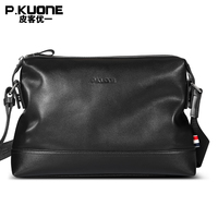 P.kuone fashion men bag genuine leather men messenger bags business casual male shoulder