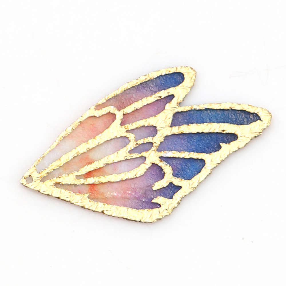 "DoreenBeads Fabric Pendants Butterfly Wing Blue Orange Multicolor Purple Blue & Green Findings 30mm(1 1/8"") x 18mm( 6/8""), 5 PCs"