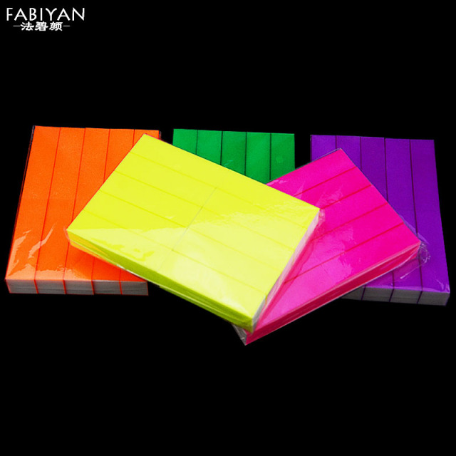 5 Colors Fluorescence Nail Art Tips Files Sponge Sanding Block Tofu Buffer Buffering Burnishing Gel UV Polish Manicure Tools DIY