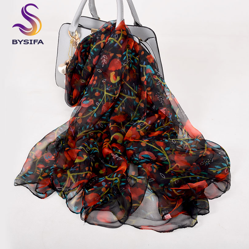 [BYSIFA] Ladies Red Black Silk Scarf Shawl 2018 New Floral Design Spring Fall Long Scarves 170*105cm Elegant Thin Neck Scarves