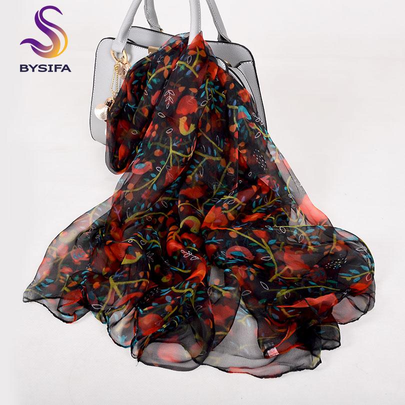 [BYSIFA] Ladies Red Black Silk Scarf Shawl 2018 New Floral Design Spring Fall Long Scarves 170*105cm Elegant Thin Neck Scarves
