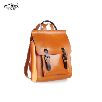 2019 New Women's Bag Original Retro Handmade Backpack Leather Cowhide Female Backpack Large Capacity Square School Bag