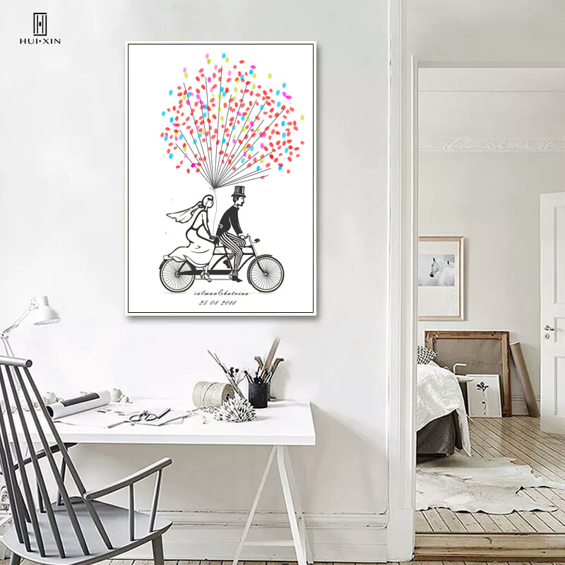 Romantic Wedding Decoration DIY Fingerprint guestbook  Sweet Couple with Bicycle Canvas Painting Gift Birthday Party Decoration