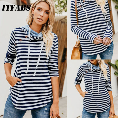 Autumn Winter Women Hooded Sweatshirt Drawstring Long Sleeve Striped Hoodies Ladies Girls Pullover
