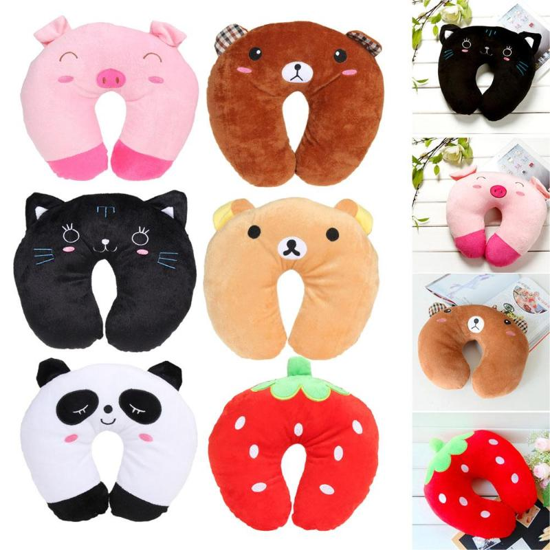 Cartoon Animals U Shaped Pillow 6 Color Comfortable Cushion For Car Plane Travel Neck Pillow Baby Accessories Cute Baby Pillow