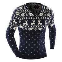 Male 2017 Men S Fashion Winter Animal Print Sweater Men Leisure Slim Pull Homme V Neck