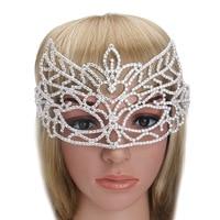 2018 New Baroque Crystal Rhinestone Fox Venetian Mask Crown Princess Bride Wedding Party Mask Elegant Masquerade Masks