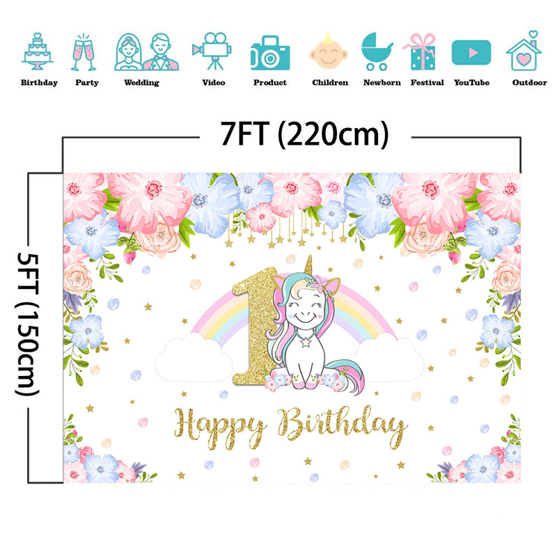 Renaiss 20x10ft Happy Birthday Backdrop Unicorn Watercolor Floral Flowers Rainbow Gold Stars Photography Background Baby Boy Girl Birthday Cake Smash Party Supplies Decoration Photo Booth Props