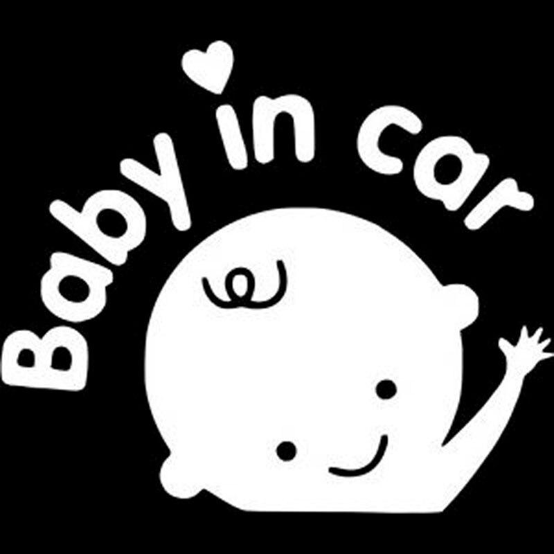 16X13.8CM BABY IN CAR Friendly Tips Cartoon Car-styling Car Sticker Vinyl Decal Black/Silver S8-0433