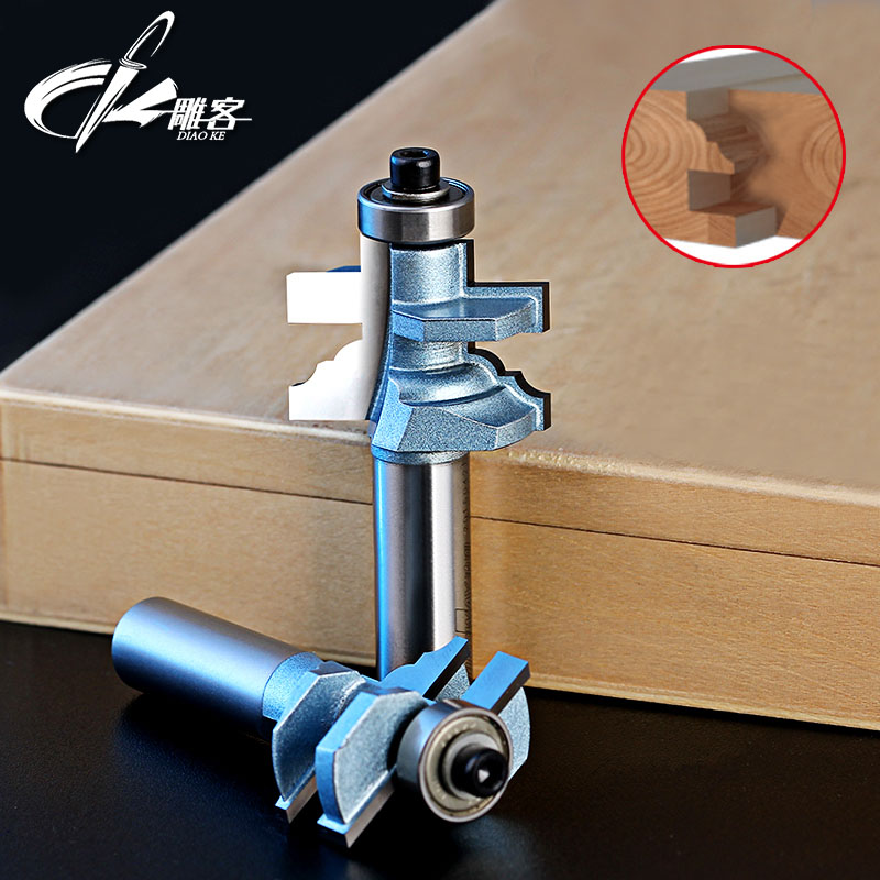 2pcs/set Woodworking Tools Glue Joint Bits Router Bit -1/2*1-I,1/2*1-II -1/2Shank Mortise knife 1 2 5 8 round nose bit for wood slotting milling cutters woodworking router bits