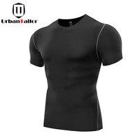Gorąca Sprzedaż Stałe Fitness Kompresja T shirt Mężczyźni Szybkie Suche Kulturystyka Workout Biegów Czarny Top Tees Slim Tee Mężczyzna Ćwiczenia odzież