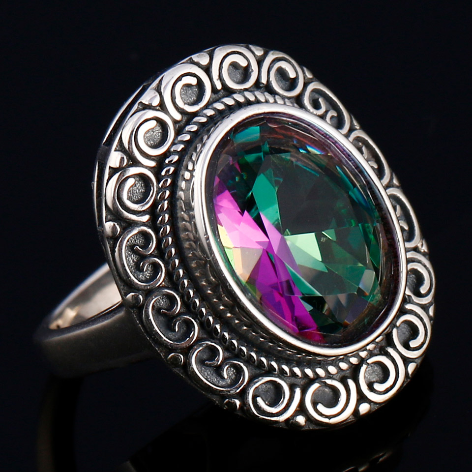 GUYINKU Rainbow Colorful Gemstone 925 Sterling Jewelry Hollow Created Mystic Topaz Rings For Women Wedding Engagement Jewelry in Rings from Jewelry Accessories
