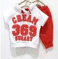2016 verano 369 digitales y de la bandera Nacional de la ropa de los niños embroma la ropa para niños y niñas trajes del deporte de La Camiseta sudaderas + pant