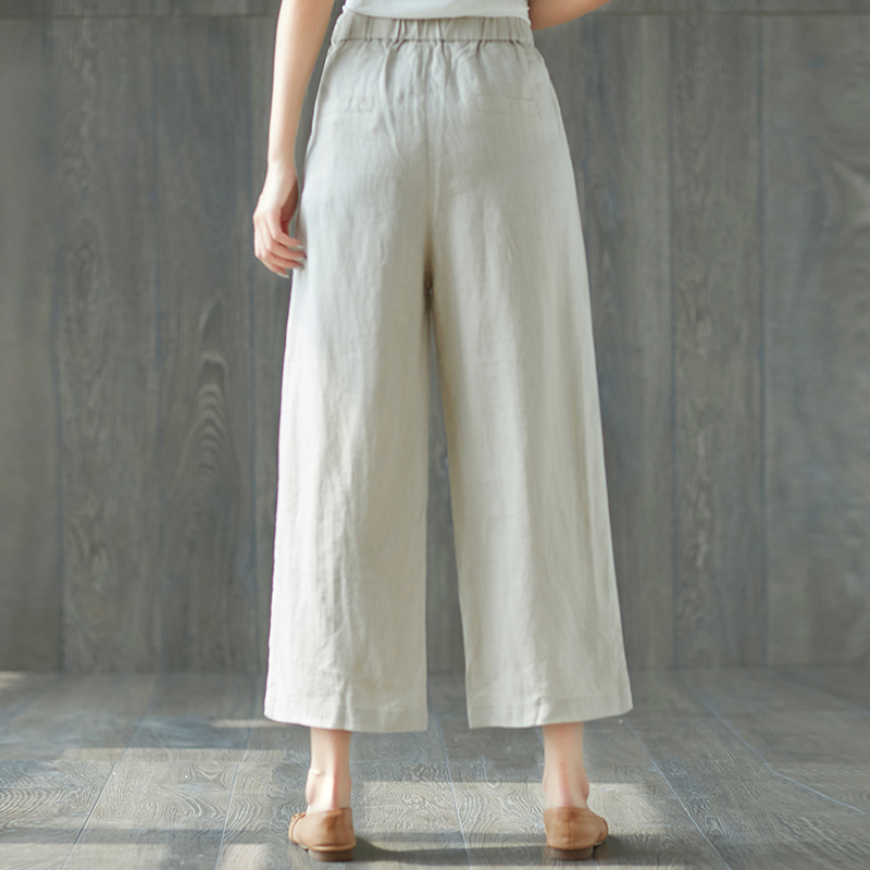 Ethnic Chinese Harem Pants Womens Loose Wide Leg Pants Ankle Length Elastic Waist Linen and Cotton Pants for Female Trousers