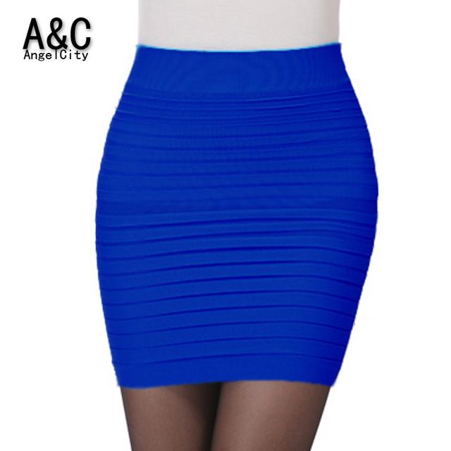 Women's New High Waist Elastic Bandage Mini Skirt