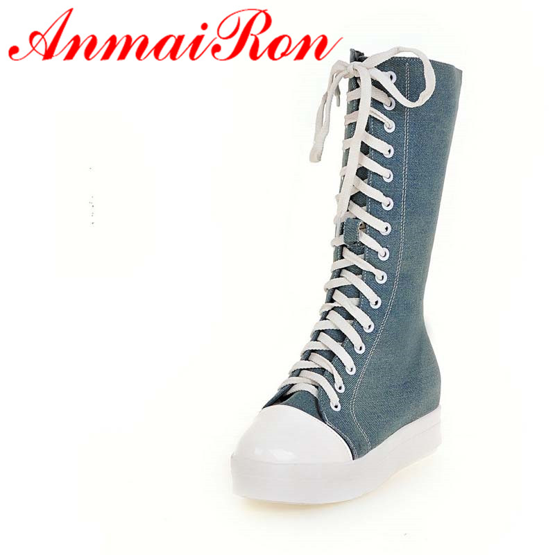 ANMAIRON Med Heels Demin Mid-calf Boots Shoes Woman Winter Warm Fashion Boots Big Size 34-43Lace-Up Black BLue Platform Shoes new fashion winter boots wool flock shoes women boots platform thick high heels mid calf boots two swear big size 34 43 0715