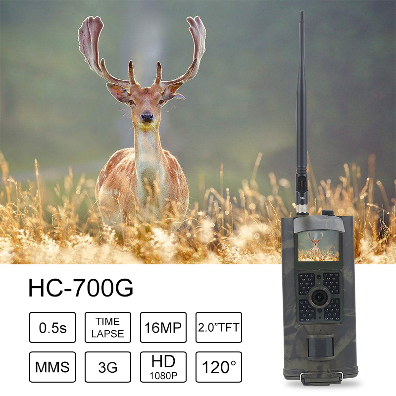 Caméra de chasse HD 16MP caméra de sentier 3G GPRS MMS SMTP SMS 1080 P Vision nocturne 940nm caméra pièges 3G HC700G