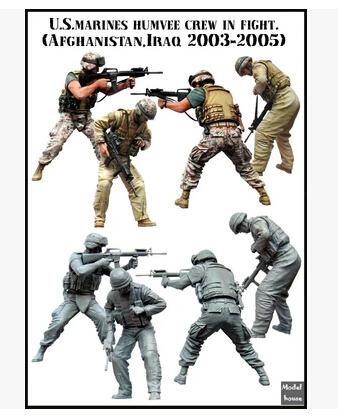 Resina Kits 1/35 escala eua MARINES tripulação em luta incluem 2 soldados resina modelo DIY brinquedos frete grátis