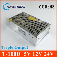 Triple Output switching power supply 100W 5V 6A 12V 2A 24V 2A ac to dc power supply T 100D high quality CE approved
