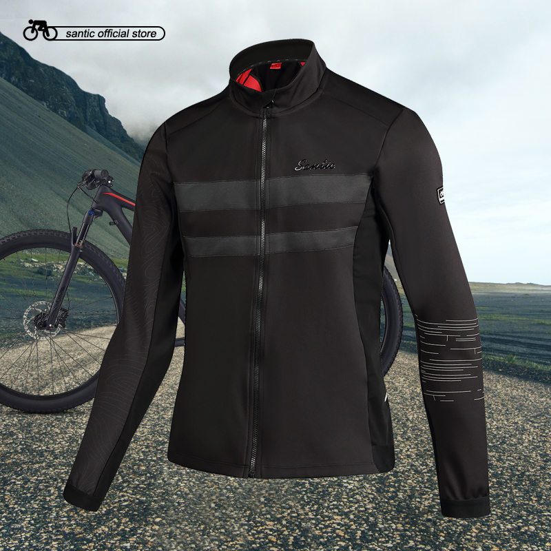 Santic Mens Cycling Thermal Jackets Keep Warm Cycling Windproof Jacket Coat Reflective Black Autumn Winter Asian