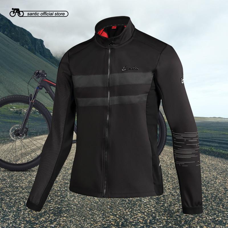Santic Mens Cycling Thermal Jackets Keep Warm Cycling Windproof Jacket Coat Reflective Black Autumn Winter Asian S-3XL M7C01089 monton 1019 ultrathin cycling polyester fiber jacket black size s