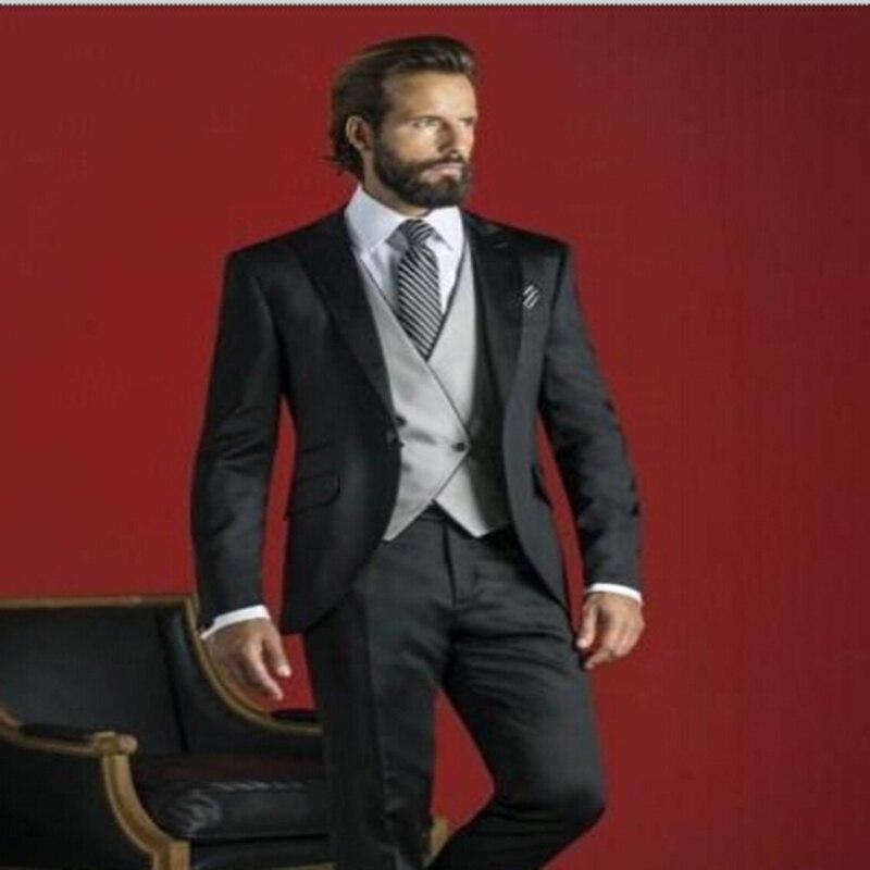 Reines Und Mildes Aroma jacken + Weste + Tie + Hosen RüCksichtsvoll Mode Männer Anzüge Schwarz Business Anzug Einreiher Bespoke Groomsmen Smoking Bräutigam Anzüge