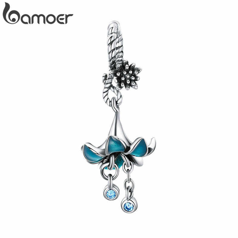 BAMOER Authentic 925 Sterling Silver Blue Enamel Flower Pendant Charms fit Silver Bracelets & Bangles 925 Silver Jewelry BSC034