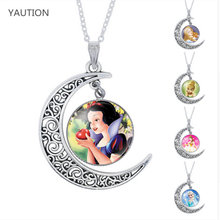 YAUTION Ladies The Long Chain Jewelry Necklace moon Crystal Cabochon Princess Elsa Anna Snow Queen Pendant Necklace For Girls(China)