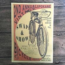 Vintage bicicleta pintura de papel Kraft cartel Retro Pared de Salón de Arte adhesivo para manualidades decoración del hogar 42x30cm ZNP-B025