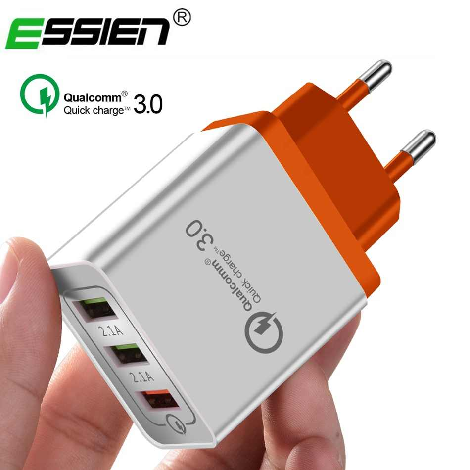 Essien 3 Port 5 V/2.4A Universal EU/US Plug Cepat Charger USB Charger Dinding Adapter QC 3.0 untuk Iphone Samsung Xiaomi Huawei