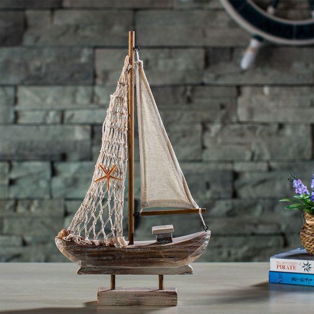 Mediterrane Accessoires vintage houten vissersboot zeilen mediterrane stijl woondecoratie