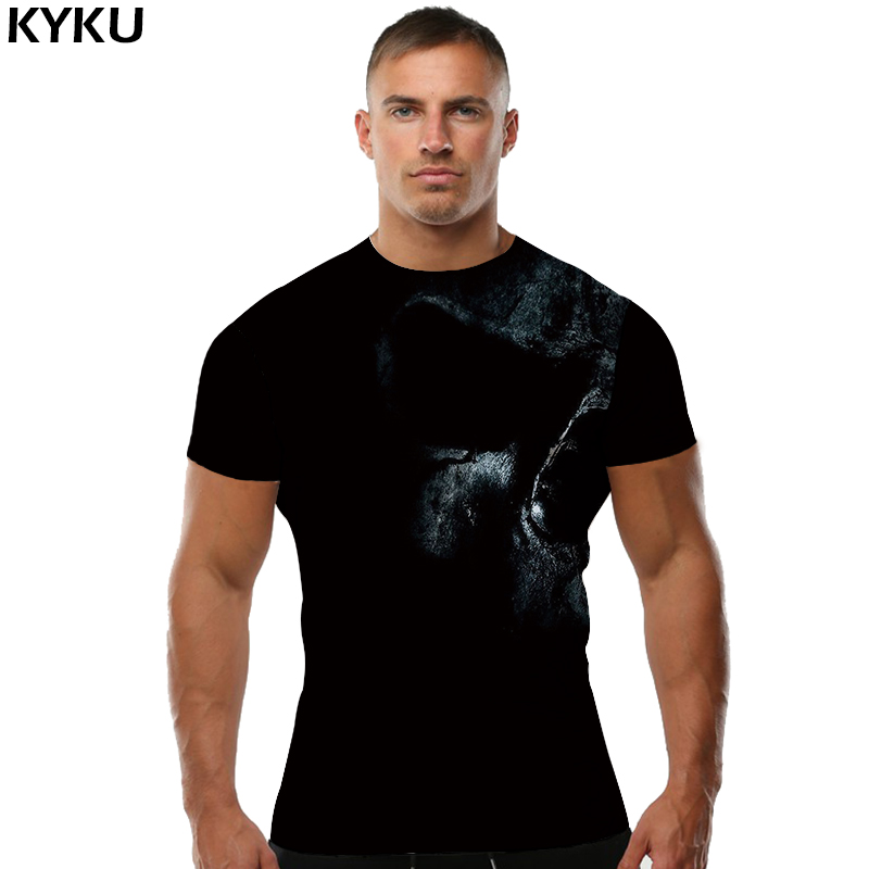 KYKU Brand Skull T shirt Gothic shirts Black Tops Tees Tshirt Clothes Men Mens Casual High Quality Homme