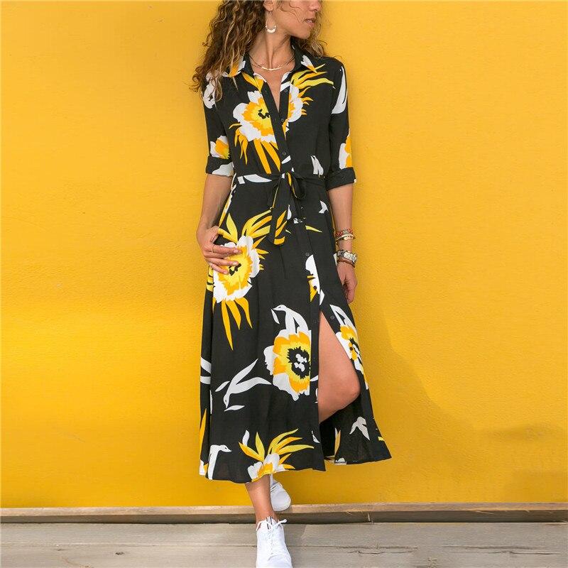 Summer Long Dress Women Floral Print Boho Chiffon Dress Long Sleeve Turn Down Collar Shirt Dress Ladies Casual Dresses Vestidos 2
