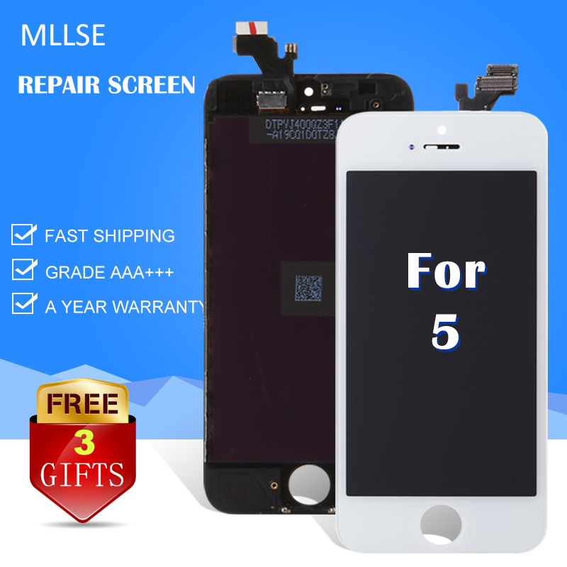 MLLSE For iPhone 5 5s 5c LCD display with touch screen digitizer replacement mobile phone cracked glass AAA quality black white mllse for iphone 6 plus lcd screen with touch digitizer assembly replacement grade aaa quality mobile phone display free dhl