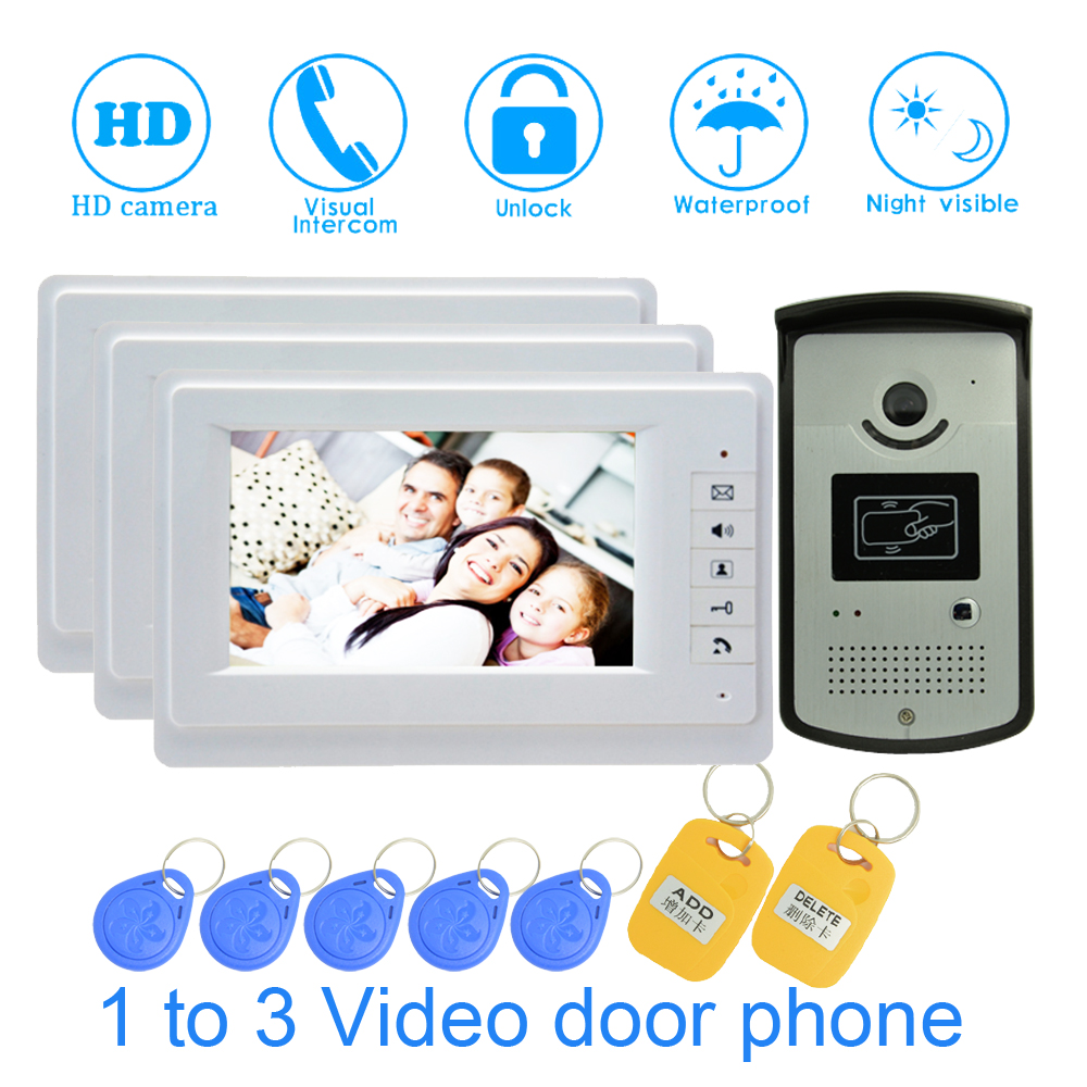 RFID Inductive Card Door Unlock Wall Mounted 3 PCS 7 Inch Color Monitor Doorbell For House Smart Control Building Talk-back