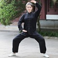 New Arrival Black Chinese Women's Cotton Kung fu Tai Chi Suit Wu Shu Uniform Clothing XXS XS S M L XL XXL XXXL 2527-1